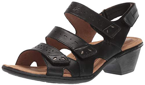 Cobb Hill Women's Verona 3 Strap Sandal, Black, 080 W US
