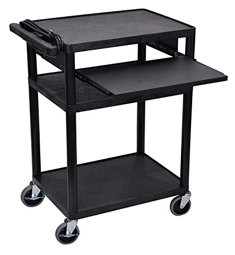 Offex Mobile 3-Shelf Presentation Storage AV Cart with Electric 4 Casters, Black (OF-LP34LE-B) ()