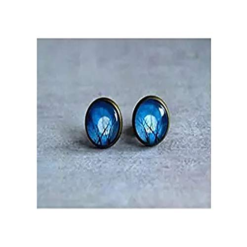 Winter Tree Moon Earrings Studs-navy Blue White Studs-ear Studs-post Earrings -Antique Brass Studs- Tree Jewelry Midnight Gem Christmas