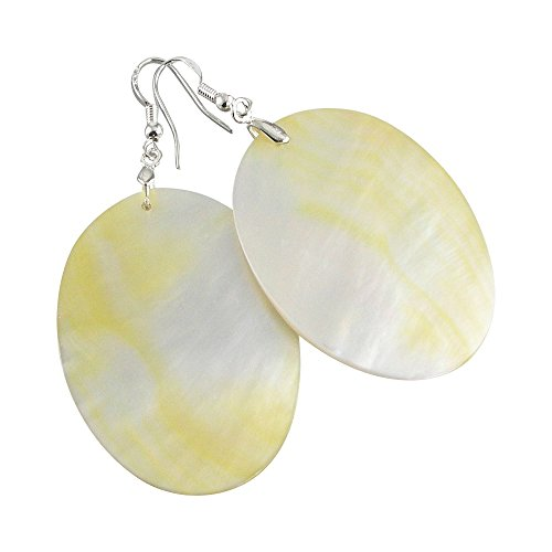 Large Oval Mother of Pearl Earrings
