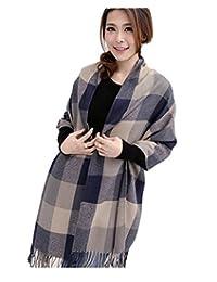 Wander Agio Women's Fashion Long Shawl Big Grid Winter Warm Large Plaid Scarf Grey