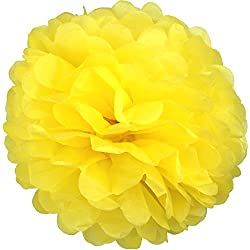 Lightingsky 10pcs DIY Decorative Tissue Paper Pom-poms Flowers Ball Perfect for Party Wedding Home Outdoor Decoration (14-inch Diameter, Yellow)