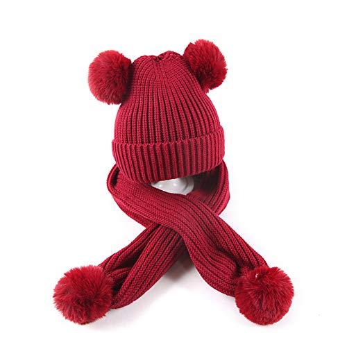 Baby Winter Crochet Hat Scarf Set Girls Boys Infant Toddler Knit Warm Pom Pom Beanie Hat Scarf (6M-3Y) Wine