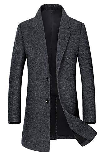 Men's Classic Trench Coat Single Breasted Wool Walker Coat Winter Jacket 1810 Dark Gray XL ()