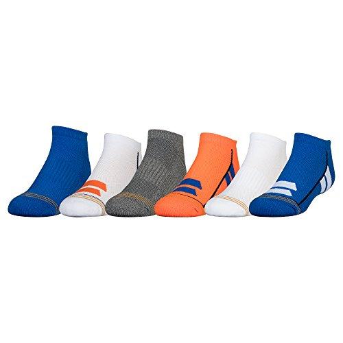 Block Stripe Socks - Gold Toe Little Boys' Ultra Tec Color Block No Show Socks, 6 Pairs, Flame/Blue Stripes, Blue/White Stripes, White, Dark Grey, White/Orange Stripes, Olympian Blue, Shoe Size: 9-2.5