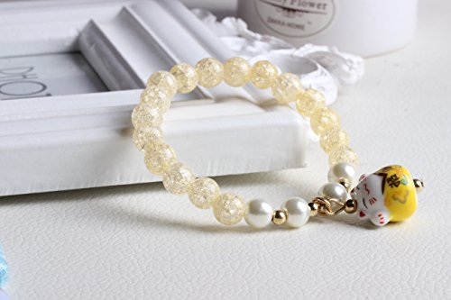 DreamMarker Ice Crack Crystal Korean Style Charm Bracelet with a Fortune & Lucky Cat Pendant (Yellow) by DreamMarker (Image #1)