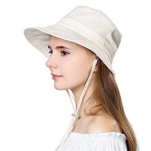 b1e0832f5 Packable Sun Bucket SPF Short Brim Hat for Women Protection Travel Bonnie  Beach Safari Hiking Beige