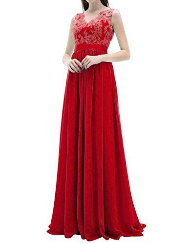 Rot Damen Brautjungfernkleider Chiffon Abendkleider Ballkleider Rückenfrei Hochzeitskleider Lang qgpwF