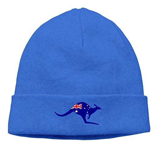 Uchengqumi Men/Women Australian Kangaroo Flag Unisex Cool Fashion Hedging Hat Wool Beanie Skull Cap Headwear RoyalBlue - Kangaroo Costume For Mom And Baby