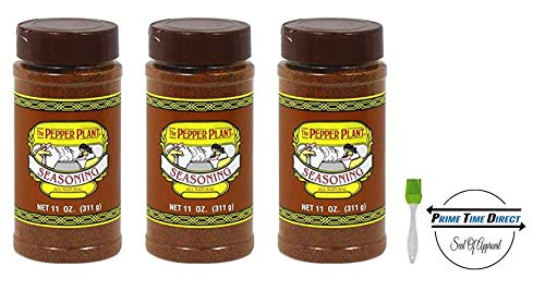 The Pepper Plant Dry Rub Seasoning 11oz (3-Pack) with Silicone Basting Brush in a Prime Time Direct Sealed ()