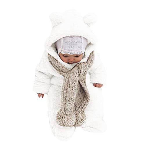 WOCACHI Baby Fleece Jumpsuits, Newborn Baby Boy Girl Winter Fleece Jumpsuit Hooded Romper Warm Coat Outwear 2019 Autumn Winter Fall Under 5 Dollars Under 10 or Less New Deals Sale