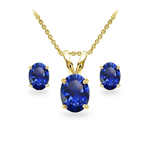 (GemStar USA Yellow Gold Flashed Sterling Silver Created Blue Sapphire Oval-cut Solitaire Necklace and Stud Earrings Set)