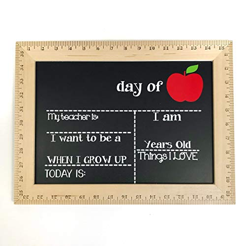 First and Last Day of School Chalkboard, Reusable Sign with Real Wooden Ruler Frame, Handmade in USA- by Page Brook Market -