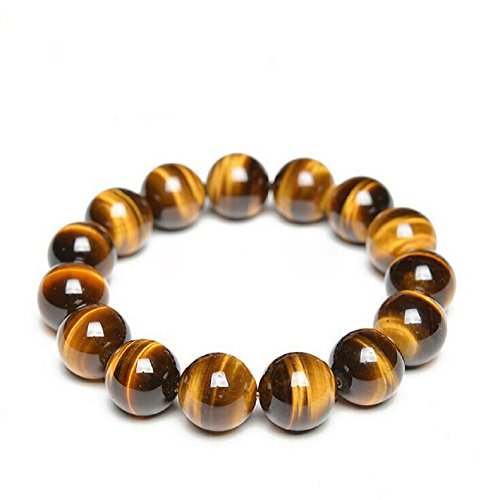 Tiger Stone Stretch Bracelet by Om Shanti Crafts | Tiger Beads Bracelet, Wear For Good Luck and Protection, 14mm Beads, Unisex (Fits 5