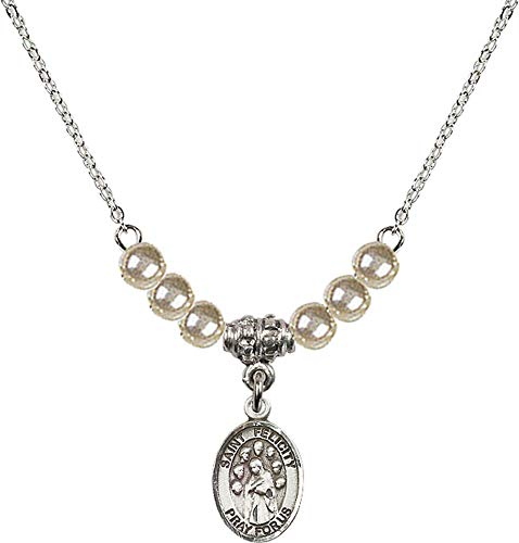 Bonyak Jewelry 18 Inch Rhodium Plated Necklace w/ 4mm Faux-Pearl Beads and Saint Felicity Charm ()
