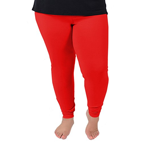 Stretch is Comfort Women's Cotton Plus Size Leggings Red -