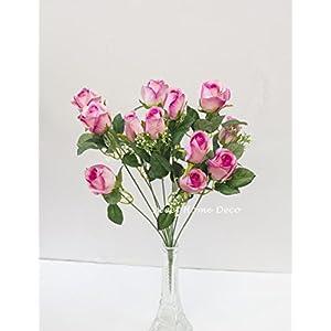 Sweet Home Deco 18'' Silk Rose Bud Artificial Flower Bush (12 Stems/12 Flowers) Wedding Home Decoration 95
