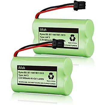 2-Pack iMah Ryme B9 Cordless Phone Battery for Uniden BT-1007 BT-1015 BT-904 BBTY0460001 BBTY0510001 BBTY0624001 BBTY0700001 DCX150 DECT1500 D1484 Panasonic HHR-P506 HHR-P506A Home Handset Telephone