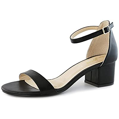 DailyShoes Women's Chunky Heel Sandal Open Toe Wedding Ankle Strap Pumps Shoes