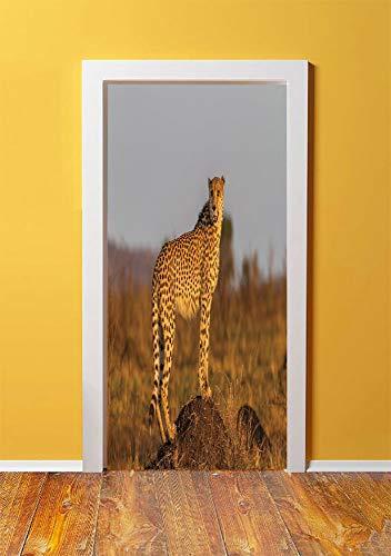 Safari 3D Door Sticker Wall Decals Mural Wallpaper,African Wild Animal Cheetah Standing on Termite Mound Savannah Nature View Decorative,DIY Art Home Decor Poster Decoration 30.3x78.10907,Ginger Apric ()