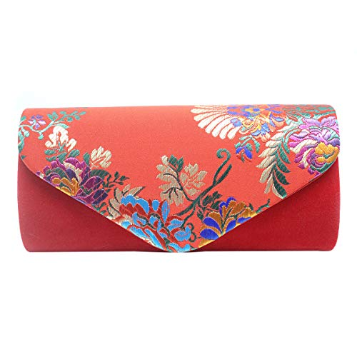 Bag Brocade Evening - Aimer Women Flower Embroidered Silklike Chinese Red Clutch Evening Bag Ethnic Party Handbag