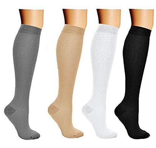 4 Pair Compression Socks Stocking Running Athletic Sport Crossfit Flight Travel