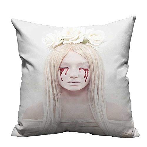(YouXianHome Super Soft Pillowcase Beautiful Young Woman with Blood from her Eyes.Blond Sexy Halloween Girl.Horror with Flowers Resists Wrinkles(Double-Sided Printing) 24x24)