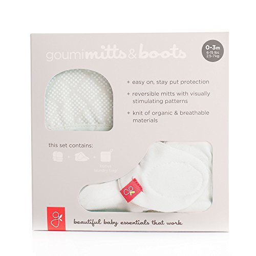 Goumikids - Organic Mitts & Booties Bundle, Soft Stay On Scratch Proof Mittens and Adjustable Baby Booties (Diamond Dots/Cream, 3-6 Months)