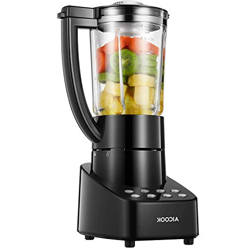 Blender Smoothie Blender 48OZ Glass Jar Countertop Blender with Smart Speed Control, Stainless Steel Blade, Pulse/Ice Crush/Frozen Drinks Function Blender for Smoothies, 700 W, Aicok ()