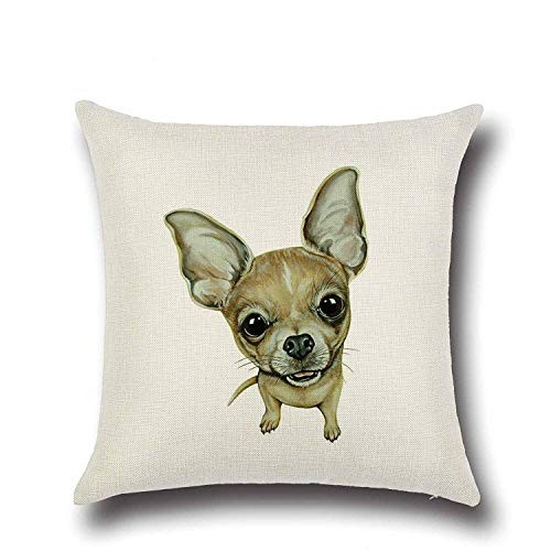 - YUHANG 20 x 20 Inch Cotton Linen Brown Chihuahua Pattern Design Durable Pillow Cover Cushion Case for Sofa Bed Decorative Zippered Throw Pillowcase Pillowslip Standard Size,Square