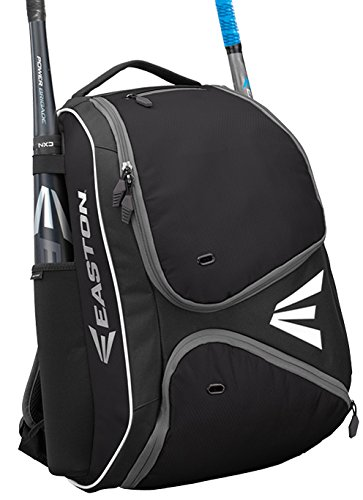 EASTON E210BP Bat & Equipment Backpack Bag | Baseball Softball | 2019 | Black | 2 Bat Sleeves | Smart Gear Storage Shelf | Vented Shoe Pocket | Valuables Pocket - Kids Bag Easton