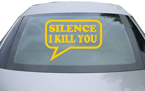 INDIGOS UG Sticker for rear window & engine flap DE2250 - gold - 600x440 mm - Silence I Kill you - for car, windows, tailgate, tuning, racing, JDM/Die cut