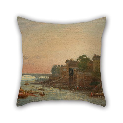 Cleveland Browns Pillow Case (18 X 18 Inches / 45 By 45 Cm Oil Painting Frederick Nash - Somerset House, London Pillowcase 2 Sides Ornament And Gift To Kids Living Room Teens Girls Indoor Girls Him)