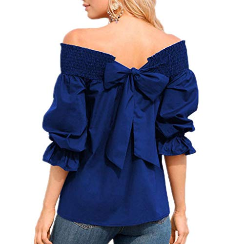 sensitives Women Off The Shoulder Blouses 2019 Summer Sexy 3/4 Sleeve Slash Neck Back Bow Casual Shirts,Blue,S