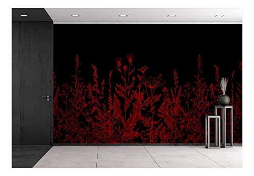 Large Wall Mural Red Flowers On Black Background Vinyl