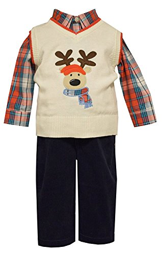 Boys Holiday Outfit Plaid Reindeer Sweater Vest Pant Set ...