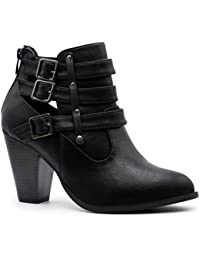 Women's Buckle Strap Block Heel Ankle Booties