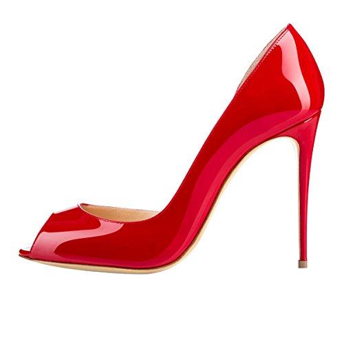 Rossa rossoPompe Fondo Donna dello Punta Rosso Toe Partito 12CM Pan Alti Tacchi Scivolare Punta 6 Caitlin a Stiletto Peep Su0la 10CM 5CM del su 7gPwqF5