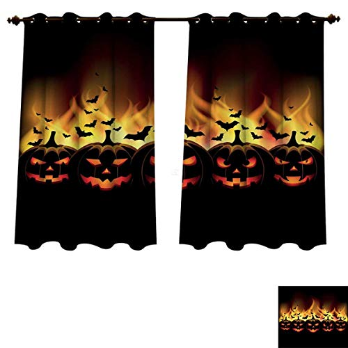 RuppertTextile Vintage Halloween Bedroom Thermal Blackout Curtains Happy Halloween Image with Jack o Lanterns on Fire with Bats Holiday Blackout Draperies for Bedroom Black Scarlet W72 x L72 inch ()