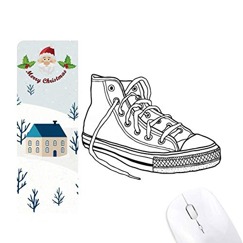 White Canvas Shoes Hand Painted Santa Claus House Mouse Pad ()