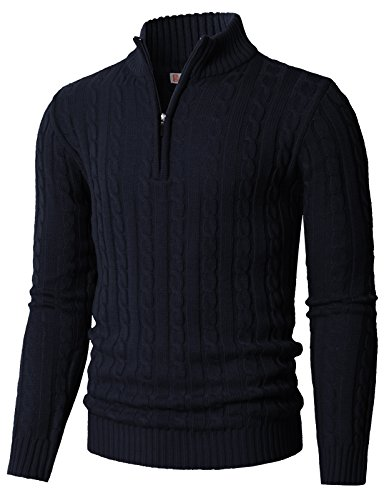 H2H Mens Casual Slim Fit Pullover Lightweight Thin Fabric Sweaters Stripe Patterned Navy US S/Asia M (CMOSWL020)