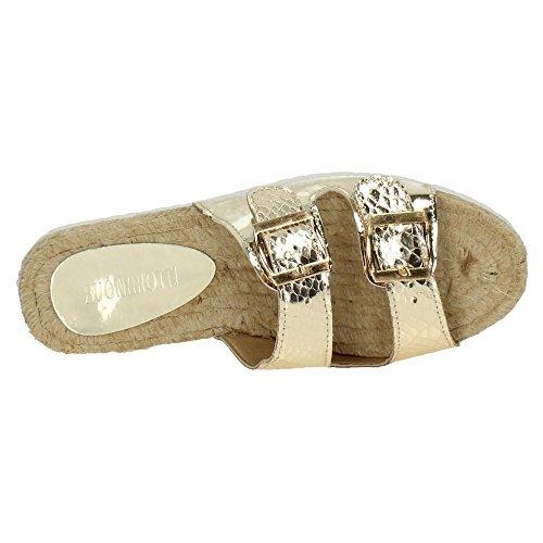 ZAPATOP HZ-10769 Sandalias de Esparto Mujer Sandalias Oro