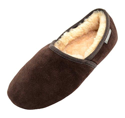 SNUGRUGS Harry, Mens Sheepskin Loafer Slipper, Zapatillas de Estar por Casa para Hombre marrón