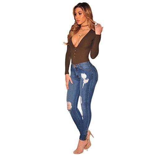 Sentao Mujer Casual Rotos Skinny Pantalones Vaqueros Mezclilla Jeans Leggings Azul