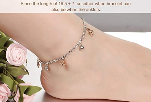 Faysting EU de La Vierge Bell de l'étoile de Bracelet de Bracelet en acier inoxydable de longueur réglable Double-Blanc