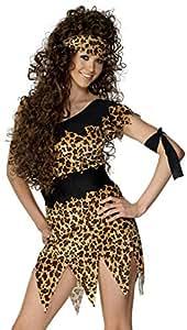 Smiffy's Smiffys-28600X1 Disfraz de Mujer cavernícola y marrón, Estampado de Leopardo, con túnica, cinturón, Banda para el Pelo y el Brazo Color, XL - EU Tamaño 48-50 28600X1