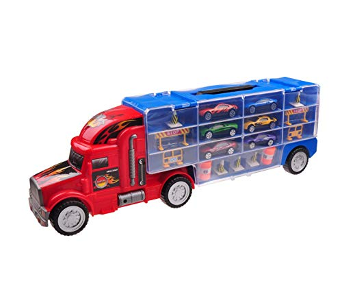 Car Transporter Toy for Boys & Girls Aged 3 4 5 6 7 8 TG664 - Cool Toy Truck with 12 Cars and Many...