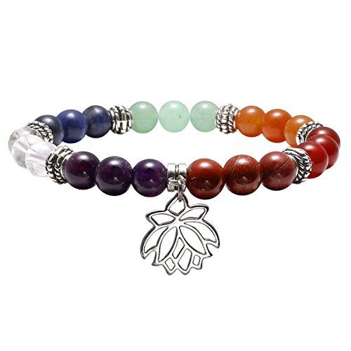 QGEM 7 Chakras Balancing Gems Flower Lotus Charm Pendant Stretch Bracelet Yoga Meditation Healing Crystal 8mm Beads Jewellry (Flower Pendant Bracelet)