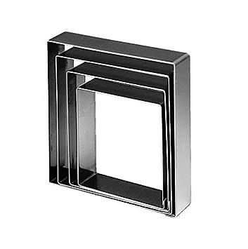 Martellato Anello Torta in Acciaio Inox, Forma Quadrata, 202x 40mm, Grigio Martellato_5H4X20