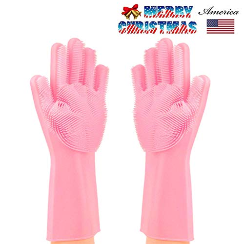 - Letlar Magic Saksak Silicone Cleaning Gloves Brush Scrubber, Reusable Silicone Dish Wash Scrubbing Sponge Gloves with Bristles for Household, Washing Dish, Kitchen, Car,Bathroom, Pet and More